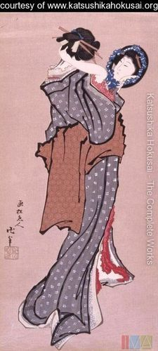 """Woman Looking in Mirror""  Hokusai"