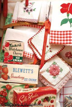 cherri, red kitchen, goodi, vintag kitchen, vintage packaging, rustic kitchens, farm kitchens, vintage linen, vintag red