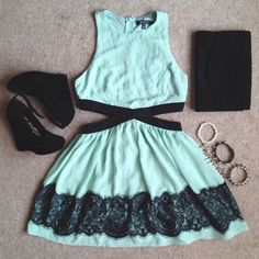 turquoise lace cutout dress LOVE