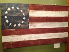 Primitive American Flag by DeVinylDecor on Etsy, $165.00