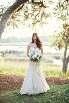 land & water | Leila Gown by Jenny Yoo for BHLDN | via: grey likes weddings
