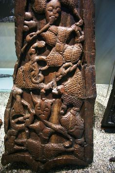 Wood carved ornaments for tents Oseberg Burial mound grave ab. 834 CE Norway    Horned or horn helmet figure. Reptile and serpent worship scene? saamiblog.blogspot.com/    Exhibited at the Viking ship Museum in Oslo, Norway.