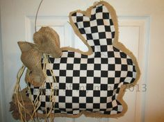 Burlap Door Hanger Bunny with Tail with Fabric by nursejeanneg, $30.00