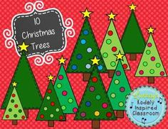 10 Christmas Trees {Clip art set}