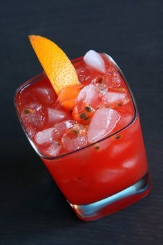 Passion Fruit Tequila Mai Tai - 2oz tequila, 1/4 oz fresh lime juice,  1/4 oz fresh lemon juice,  1/4 oz Orgeat syrup,  Splash grenadine,  fresh passion fruit. Shake with a lot of ice. Strain into double rock glass over crushed ice. Garnish with an orange slice.