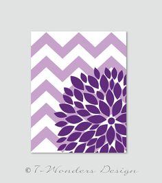 "Flower Bursts Botanical Print with Chevrons -11"" x 14"" // Lavender and Violet Purple // Digital Fine Art Modern Wall Art Prints Home Decor"