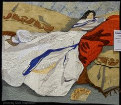 "Quilt Inspiration: Quilt as Art.  ""Woman at Rest""  by Jennifer June.  2014 AQS show, photo by Quilt Inspiration"