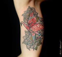 Origami Flamingo  ThinkingTree Tattoo JKT