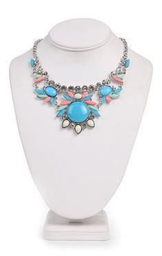 Deb Shops Short Statement #Necklace with Stone Design $9.03