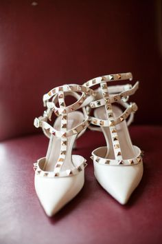 Valentino studded heels, photo by She Wanders http://ruffledblog.com/malibu-calamigos-ranch-wedding #weddingshoes #shoes