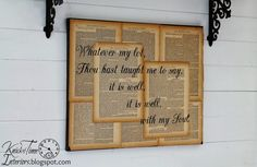 Repurposed-Book-Page-Canvas-Wall-Art-Hymn-Lyrics-It is Well With My Soul-by Knick of Time cottage interiors, country cottages, countri cottag, canvas wall art, book pages, french country, french countri, diy projects, old books