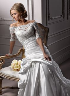 Gorgeous White Mermaid Off The Shoulder Corset Closure Floor-length Wedding Dress Sweep Train With Beads 00074 Wedding Dressses, Lace Tops, Dream Dress, Mermaid Wedding Dresses, Sleev, Dream Wedding Dresses, The Dress, Gown, Bride