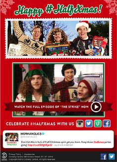"""Comedy Central email sent after the """"Half Xmas"""" episode of Workaholics aired. Used live tweets to encourage fans to """"keep the Half Xmas parties going,"""" along with a link to watch the full episode. #emailmarketing #socialmedia"""