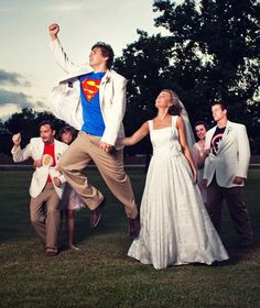 Haha the groom and groomsmen act out the part of which superhero they are wearing