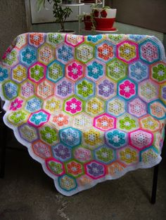 Granny Square Crochet Blanket...Baby Crib Blanket...Colorful Knitting Patchwork Baby Afghan...