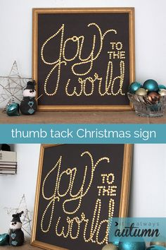 easy #DIY #thumb #tack christmas sign | beautiful #Christmas #wall #art for just a couple of dollars! get the full tutorial from itsalwaysautumn.com