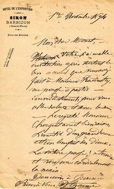 Painter Paul Cezanne's handwritten letters (this one is to Claude Monet) were the source for the P22 Cezanne  Cezanne Pro fonts