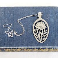 Silverware Spoon Pendant - Hand Cut Floral Protea recycled silverware jewelry