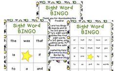 Classroom Freebies Too: Sight Word Bingo Games (Fry) kindergarten sight, games, bingo game, kindergarten teacher, teach read, read idea, educ, school idea, sight word bingo