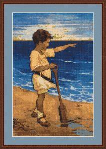 Boy on the Beach Cross Stitch Pattern