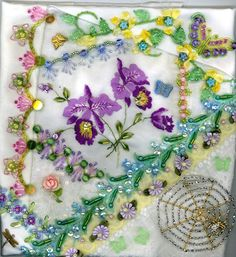 I ❤ crazy quilting . . . Floral Crazy Quilt Block 2 ~By Kitty And Me