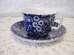 Cobalt Blue & White Floral Chintz Cup & Matching Saucer England