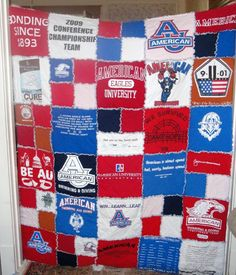 Tshirt quilt with raw edges.  Fun! When I start running races I want to make one of race shirts or a baby blanket out of kids old shirts!