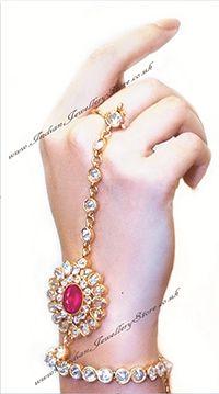 Rani Pink ANUSHKA Hath Panja #Jewelry, PAIR. American diamond, gold plated £45.00