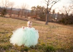 Pixie tutu dress Mint Green with white satin bow - Flower girl dress $55
