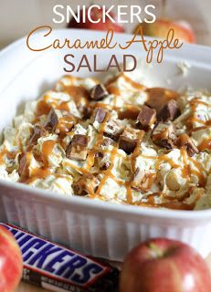 Homemade Snickers Caramel Apple Salad--This is really stretching it to call this a salad--but it sounds yummy