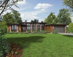 Tell us what you think of this new contemporary home featuring 4 Bedrooms and 2.5 Baths? #Houseplan packages start at $850 to build the Hampton House Plan 5173. View the floor plan: http://www.thehousedesigners.com/plan/the-hampton-5173/