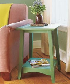 For an unexpected yet updated look, this traditional Arts and Crafts-style side table is painted in Benjamin Moore's verdant Avon Green. | Photo: Wendell T. Webber    Avon Green (HC-126), Benjamin Moore