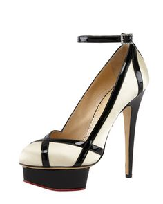 Charlotte Olympia Harlequin Patent-Trimmed Satin Pump