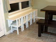 """DIY Decorating Ideas: If you need to seat several kids in a small space, here's a fabulous solution for you. Make them their own """"breakfast bar"""" or as the designer calls it """"table for five"""". Kid-Size Breakfast Bar Tutorial"""