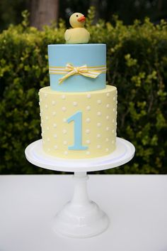 Nice 1st Birthday Cake, or replace the #1 with a Baby Rattle motif for a baby shower
