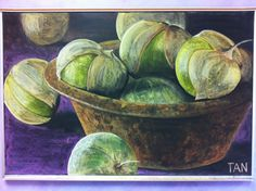 "Chalkboard art by Dr. Rick Tan. ""Tomatillos in Steel Crucible"" for grade 8 organic chemistry block at Davis Waldorf School. 4x6 ft."