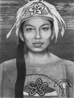 """MOHAWK GIRL, Johnny Lee.  Portrait of a Six Nations dancer of the Turtle clan named  """"Cohewenah"""" which means paddling down the river."""