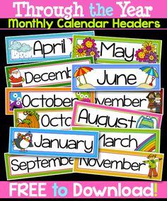 classroom calendar labels, free classroom labels, classroom calendars, classroom decor, free month, month label, free labels for classroom, calendar months, classroom labels months