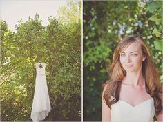 David's Bridal Bride Nicole in David's Bridal Collection Cap-Sleeve Slim Gown with Keyhole Back Style VW9768 Photographer: Maria Mack