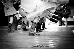 If you're dancing at your wedding (especially if it's line dancing!) be sure to get a shot of the action. #westernwedding #countrywedding #cowboyboots