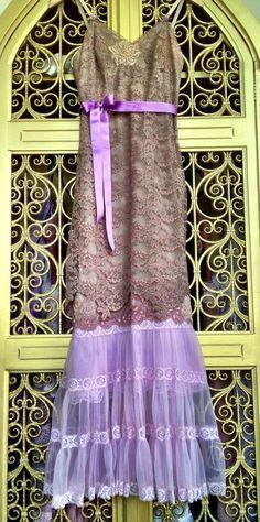 Cocoa tan & lilac lace and chiffon appliqué princess prom dress by mermaid miss k Dress Style, Tan