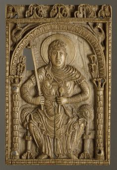 Carolingian Plaque with the Virgin Mary as a Personification of the Church. Carved from elephant ivory, c. 800–875    Ivory
