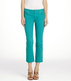 colored pants, slim jean, crop slim, colors, tory burch