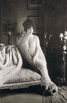 The actress Genevieve Lantelme in Madeleine Vionnet's déshabillé, designed in 1907 at Maison Doucet
