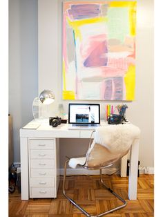 blogger alexandra heitz's apartment. love this home office! office spaces, office desks, tiny office, fur, desk areas, drawer, home offices, alex o'loughlin, pastel art