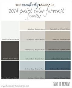 Favorites from the 2014 Paint Color Forecast Paint It Monday - The Creativity Exchange Perfect for our next flip!