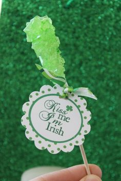 "Great stir stick idea for a St Patricks Day tea or dessert buffet.  Lable could just be green ribbon or say ""Lucky"""