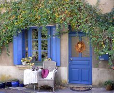Blue cottage.