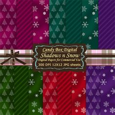 Shadows and Snow Winter Digital Background Papers from Candy Box Digital on TeachersNotebook.com -  (15 pages)  - Shadows and Snow cover these colorful winter digital background papers. This pack of 15 warm digital papers are perfect for those wonderful winter fun days.