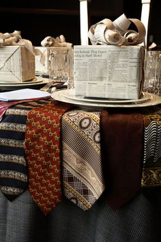 Kimberly Schlegel Whitman: Tablescape Tuesday: Father's Day-tablecover is made from men's suit fabric and the overlay is made of men's neckties from the Salvation Army.